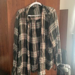Lane Bryant Pink and Gray Button Down Plaid Shirt